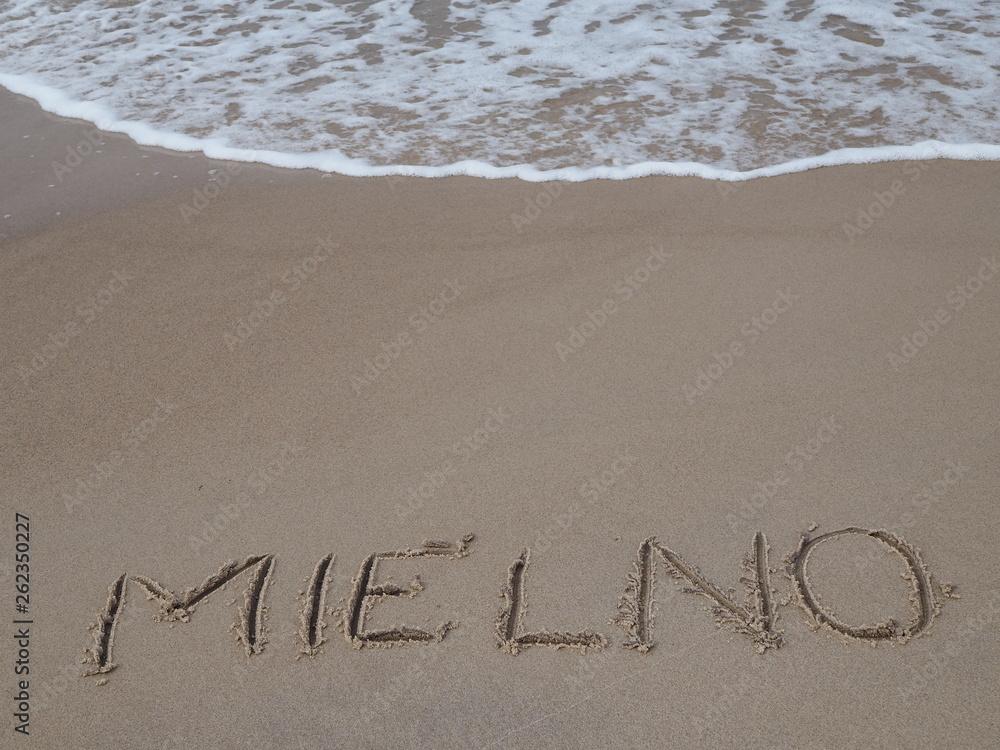 Fototapeta Plaża Mielno, tekst na plaży