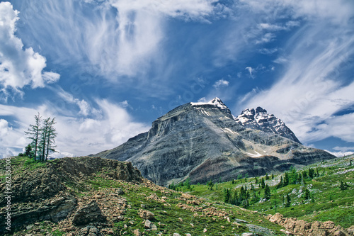 Alpine terrain and Cathedral Mountain near Lake McArthur, Yoho National Park, Canada