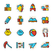 Kindergarten Vector Icon Set