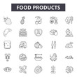 Food products line icons, signs set, vector. Food products outline concept illustration: food,product,isolated,healthy
