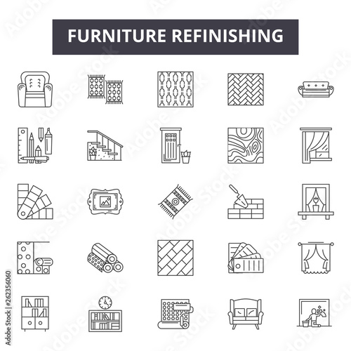 Furniture refinishing line icons, signs set, vector. Furniture refinishing outline concept illustration: Top 48 Keywords:,speckle,tool,linear,surface,dots,texture,work,carpentry,black Wall mural
