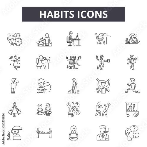 Fotografia  Habits line icons, signs set, vector
