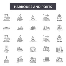 Harbours Line Icons, Signs Set...