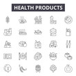 Health products line icons, signs set, vector. Health products outline concept illustration: health,care,product,collection,bottle,beauty