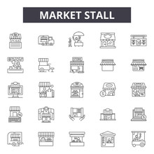Market Stall Line Icons, Signs...