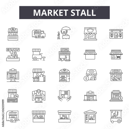 Carta da parati Market stall line icons, signs set, vector