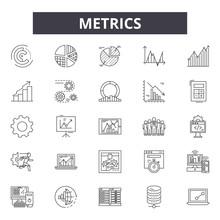 Metrics Line Icons, Signs Set, Vector. Metrics Outline Concept Illustration: Web,graph,business,chart,metrics,concept,metric