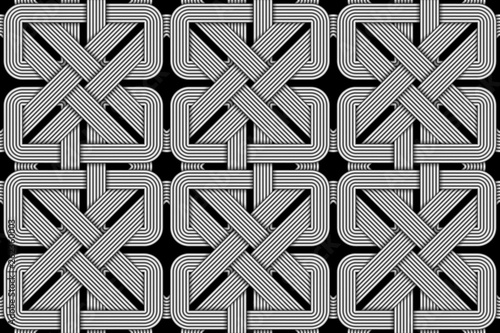 Fotografiet  Vector square seamless pattern of wicker square shaped wires.
