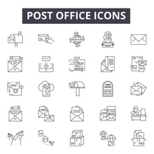 Post Office Line Icons, Signs Set, Vector. Post Office Outline Concept Illustration: Office,mail,post,communication,envelope,email,message