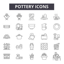 Pottery Line Icons, Signs Set,...