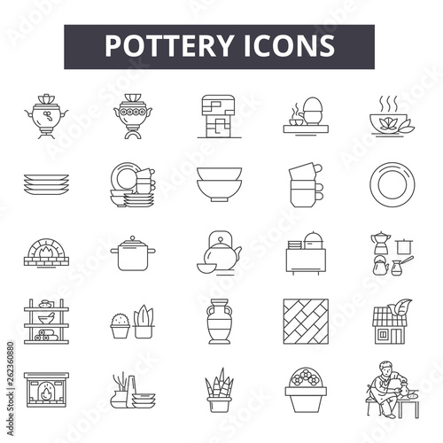 Slika na platnu Pottery line icons, signs set, vector
