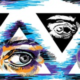 Seamless pattern with eyes. Eye in the pyramid, Masonic symbol. Multicolored drawing. - 262361484
