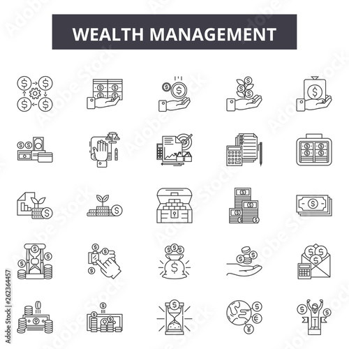 Fotografía  Wealth management line icons, signs set, vector