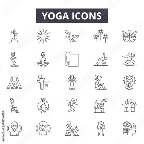 Fototapeta Yoga line icons, signs set, vector. Yoga outline concept illustration: yoga,body,exercise,health,relaxation,fitness,lifestyle,sport,meditation obraz na płótnie