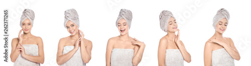 Fotografia Set of beautiful young woman with towels on white background