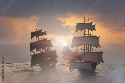 Foto op Aluminium Schip sea battle with a sailing pirate ship 3d,render