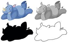 Set Of Rhinos Isolated