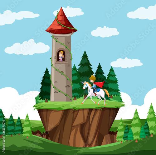 Castle fairy tale scene