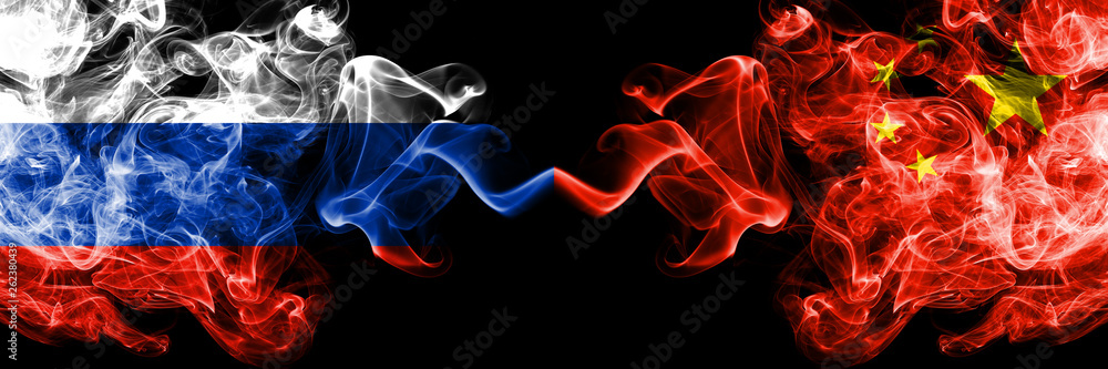 Fototapety, obrazy: Russian vs China, Chinese smoke flags placed side by side. Thick colored silky smoke flags of Russia and China, Chinese