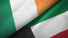 Ireland And Kuwait Two Flags T...