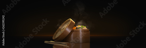 Fotografia  variety of dim sum in bamboo steam containers. 3d rendering