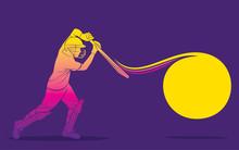 Cricket Player Hitting Big Shot