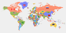 Color World Map With The Names Of Countries And National Flags. Political Map. Every Country Is Isolated.