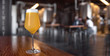 canvas print picture - Panoramic view of craft New England IPA beer at local brewery, hazy juicy ale