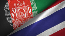 Afghanistan And Thailand Two Flags Textile Cloth, Fabric Texture