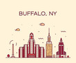 Buffalo skyline New York USA vector linear style
