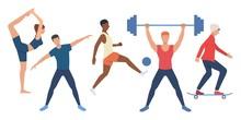 Set Of Sportive People