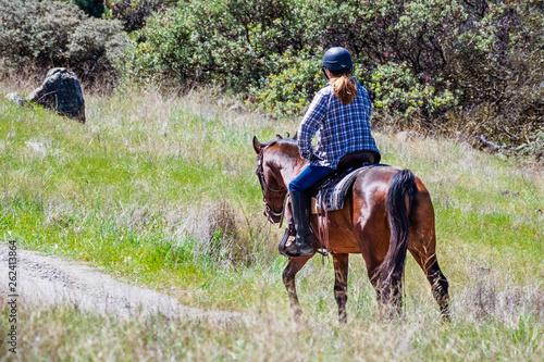 Unidentified woman riding a horse on the hills of south San Francisco bay area, Santa Clara county, San Jose, California