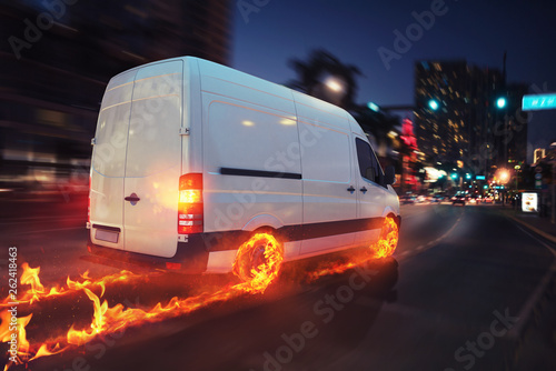 Super fast delivery of package service with van with wheels on fire Poster Mural XXL