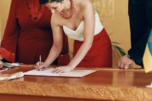 Happy Beautiful Bride In Elega...