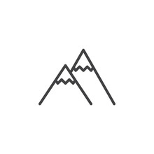 Mountain Peak Line Icon. Linear Style Sign For Mobile Concept And Web Design. Snowy Mountains Peak Outline Vector Icon. Outdoors Symbol, Logo Illustration. Pixel Perfect Vector Graphics
