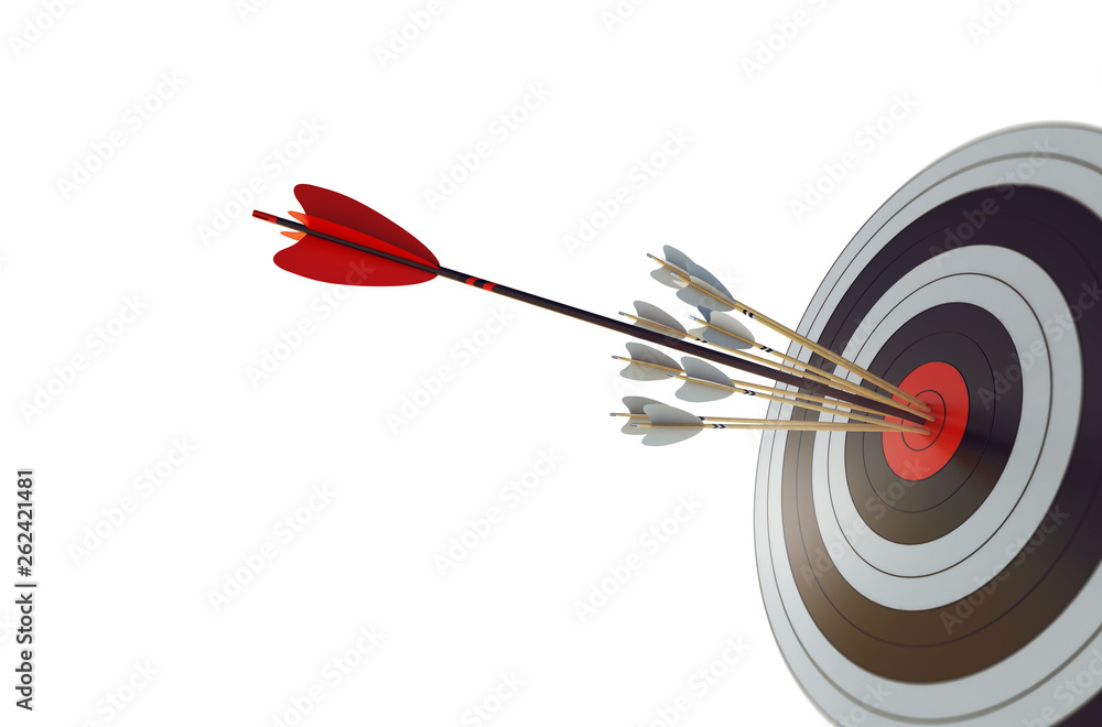 Fototapeta Arrow hit the center of target. Business target achievement concept. Isolated on white background. 3D Rendering