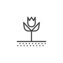 Tulip Flower Line Icon. Linear Style Sign For Mobile Concept And Web Design. Tulip Growth On A Field Outline Vector Icon. Symbol, Logo Illustration. Pixel Perfect Vector Graphics
