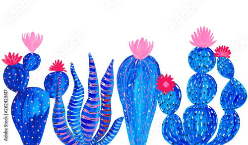 Poster Aquarel Natuur Banner Hand painted set of decorative cactus in fantasy style Set of flowering plants, cactus blue coral color