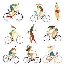 Collection Of People Riding Bicycles Of Various Types. Set Of Cartoon Men And Women On Bikes. Vector Illustration.