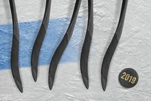 Puck, Five Hockey Sticks And B...