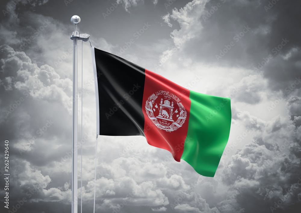 Fototapety, obrazy: 3D Rendering of Afghanistan Flag is Waving in the Sky - 3d illustration