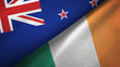 New Zealand and Ireland two flags textile cloth, fabric texture