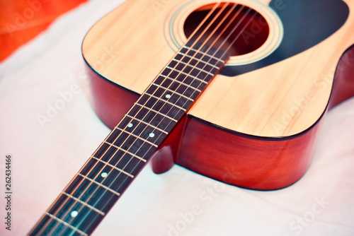 Acoustic guitar / Close up of guitar musical instrument tone vintage style classic - 262434466