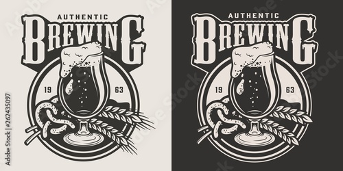 Fotografiet Vintage brewing monochrome emblem