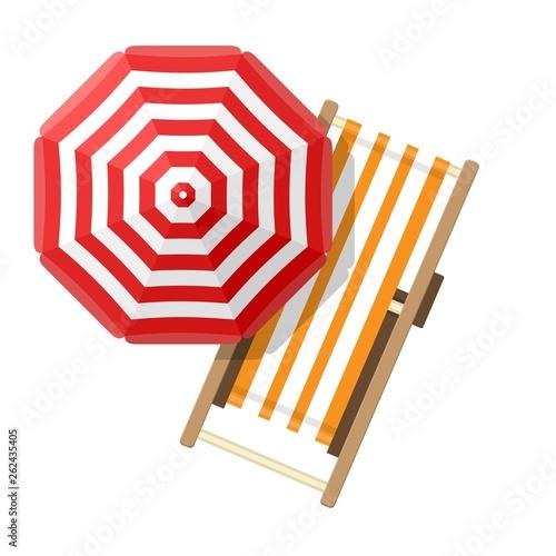 Photographie beach umbrellas top view on white background