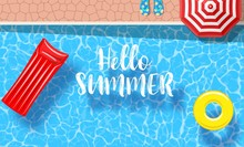 Inflatable Mattress Floating And Yellow Pool Rings In A Swimming Pool. Poster Template For Summer Holiday. Summer Pool Party Banner With Space For Text. Vector Illustration In Flat Style