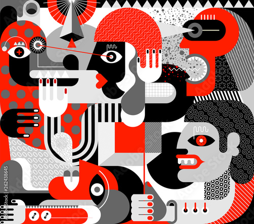 Staande foto Abstractie Art People Got Scared Big Dog vector illustration