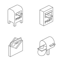 Mail Letter Parcel 3d Vector Icon Isometric Lines Color Minimalism Illustrate