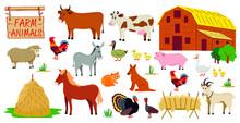 Farm Animals Set In Flat Style...