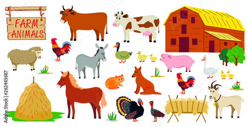 Farm animals set in flat style isolated on white background Wallpaper Mural